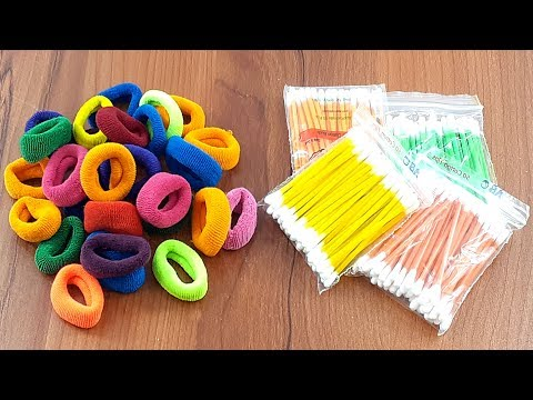 Amazing creative decorating idea with Cotton buds & Hair rubber bands | DIY arts and crafts