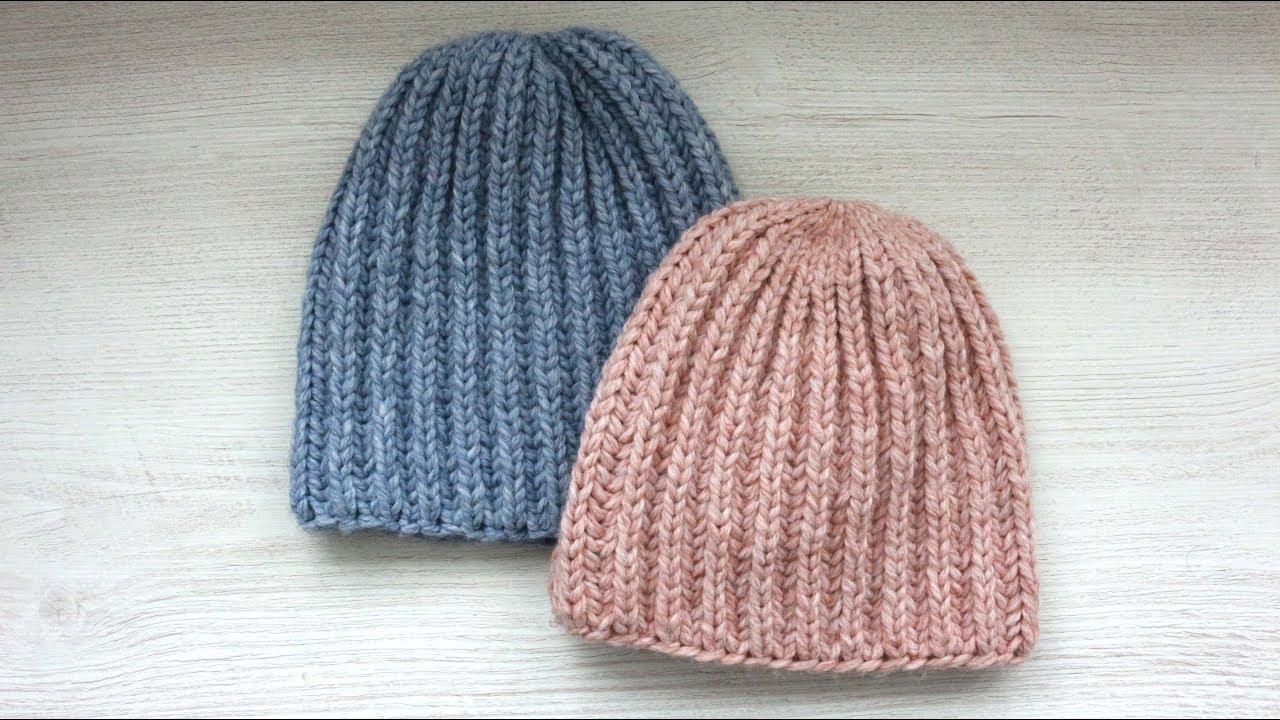 вяжем модную шапку английской резинкой по кругу подробный мк для