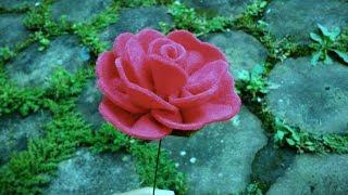 DIY Felt Rose Flowers   Cara membuat bunga mawar flanel