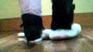 Girls Pink Black Kamik Boots Crushing Bunny Stuffed Animal