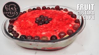Trifle Recipe with Custard - How to Make Fruit Custard - Dessert Recipe 4 Ingredients - Hinz Cooking