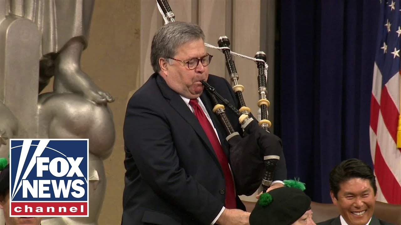 Watch: Barr plays the bagpipes at Attorneys' National Conference