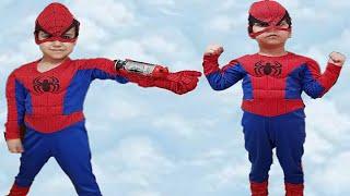Örümcek adam Çınar Efe spiderman ağ eldiveni ile ağ atıyor | Eğlenceli çocuk videosu