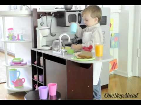 kidkraft kids modern play kitchen from one step ahead - youtube