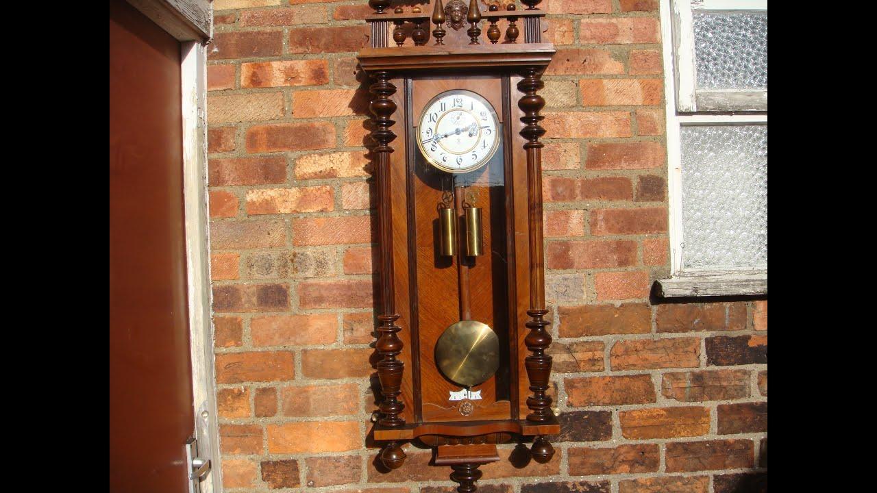 Antique Vienna Gustav Becker Wall Clock With Pendulum Key