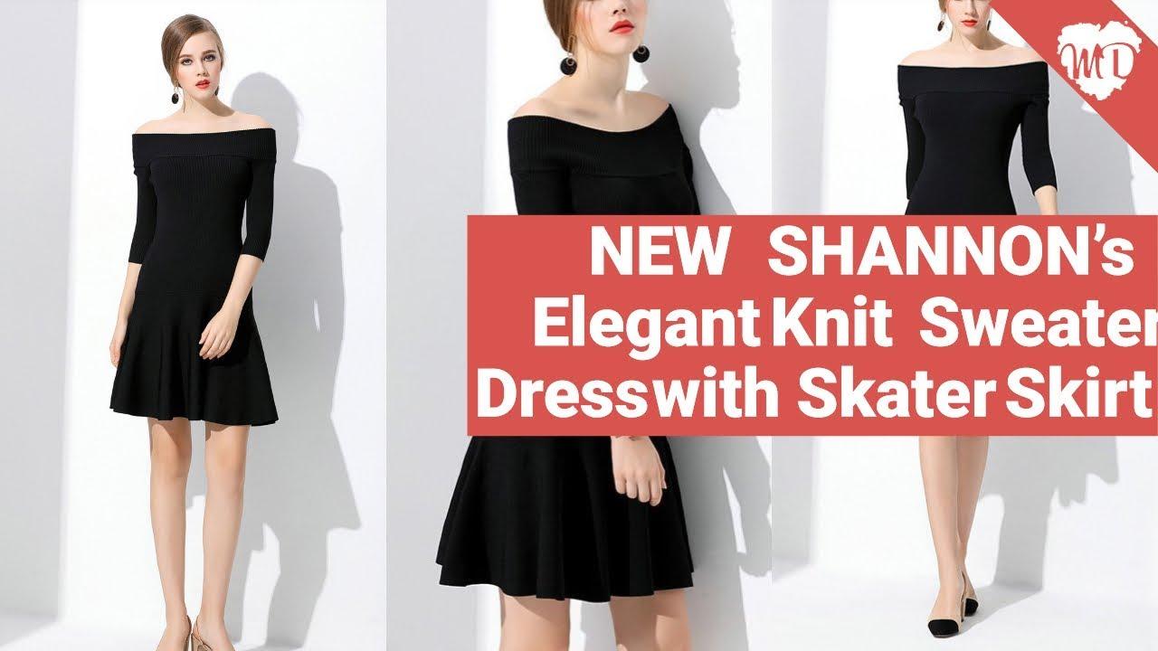 e4e4daa547 NEW SHANNON s Elegant Knit Sweater Dress with Skater Skirt - YouTube