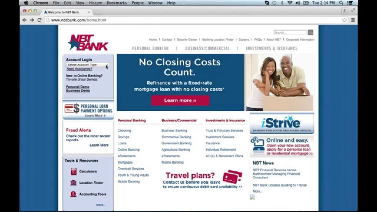 NBT Bank Online Banking Login Instructions - YouTube