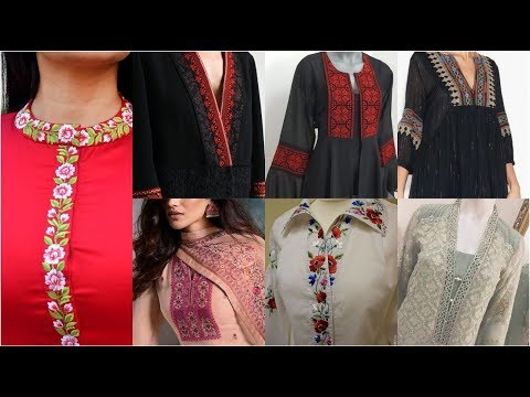 Very Beautiful & Stunning Embroidered Neck Line / Placket Designs With Embroidery