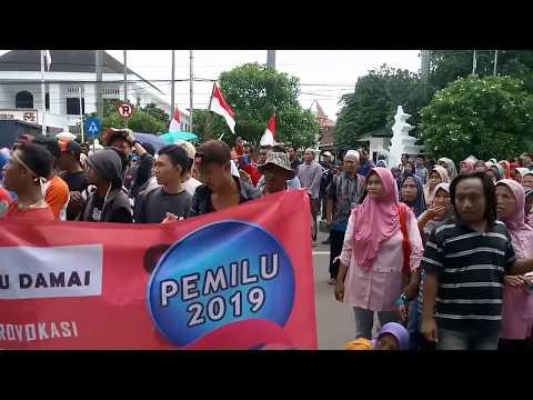 Seperti Ini Aksi Dukung Pemilu Damai Dan Menolak Hoax Di Balai Kota Cirebon