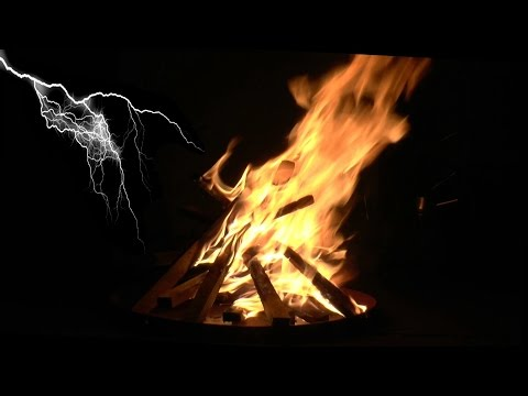 Nighttime Campfire with Thunder, Rain, Wind and Relaxing Night Sounds (Study, Sleep and Relax)