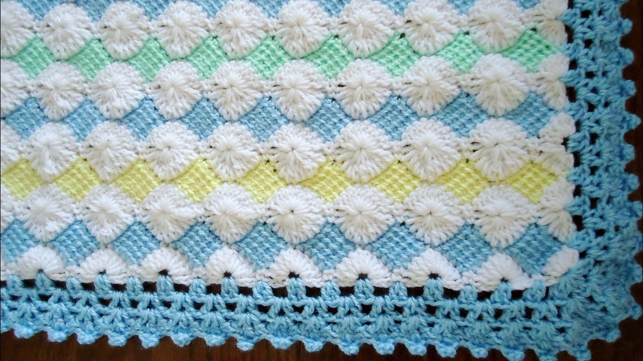 Borde en crochet para la mantita de beb parte 2 youtube - Puntos ganchillo para mantas ...