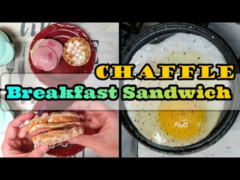 Making A Breakfast Sandwich White Bread Chaffle With Mini Dash Griddle