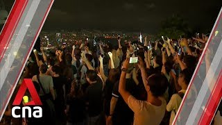 Hong Kong activists mark the start of the Mid-Autumn Festival