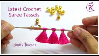 Latest Saree Kuchu Design | Crochet Tassels using Readymade Kuchu | 5/10 | www.knottythreadz.com