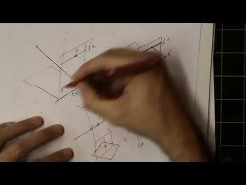 Intersección de plano y recta en proyección central (perspectiva cónica)