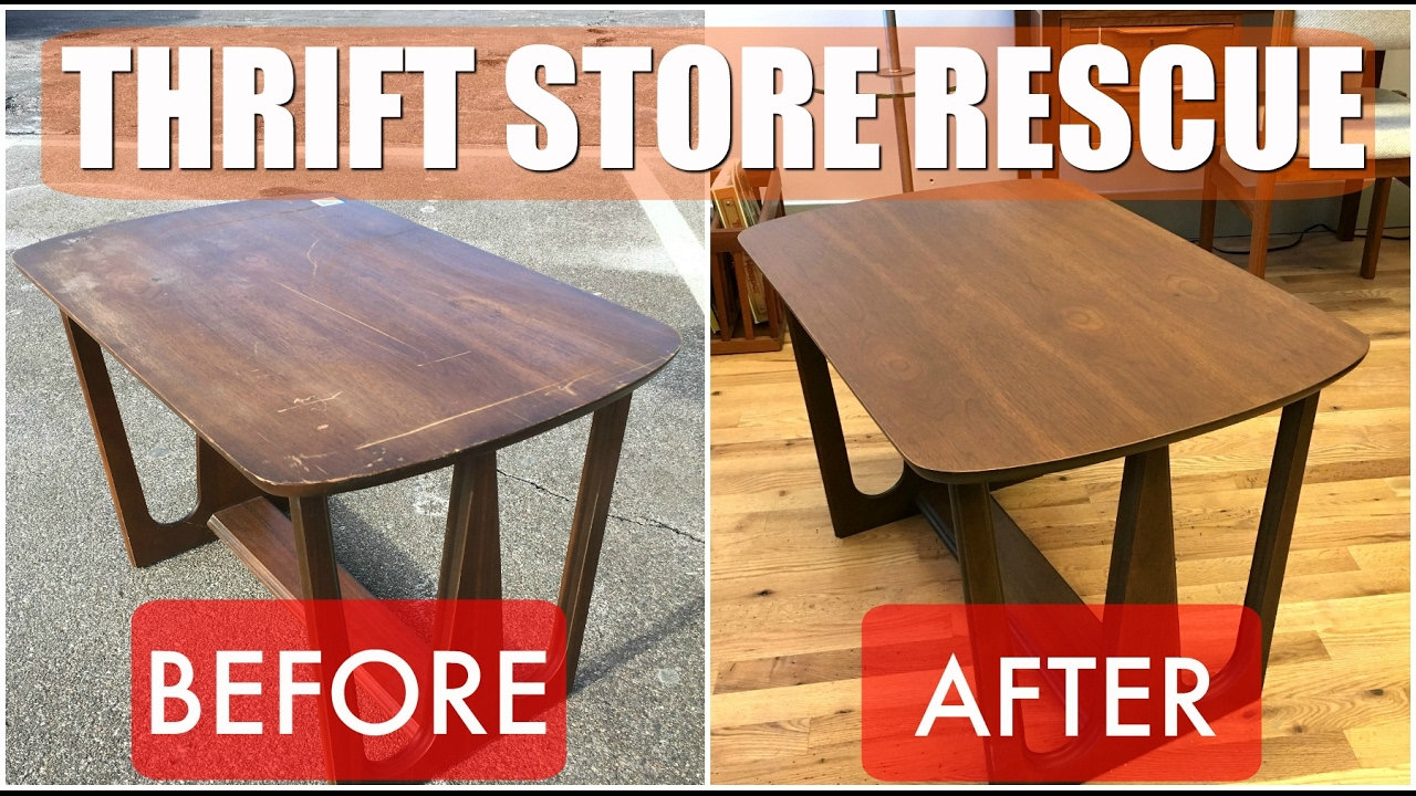 Thrift Store Rescue #2 / Mid Century Table Refinish U0026 Reglue / Minneapolis