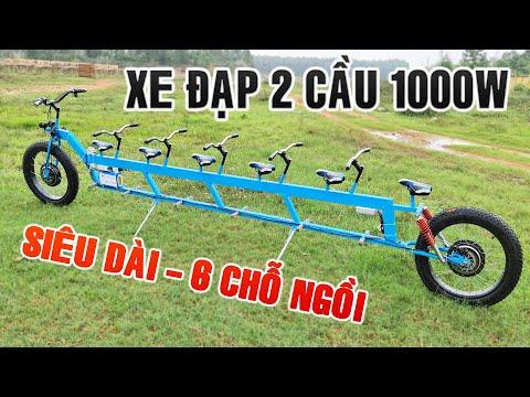 Chế xe Đạp Điện 2 Cầu Siêu Dài 6 Chỗ Ngồi - 48v 1000w - 40km/h