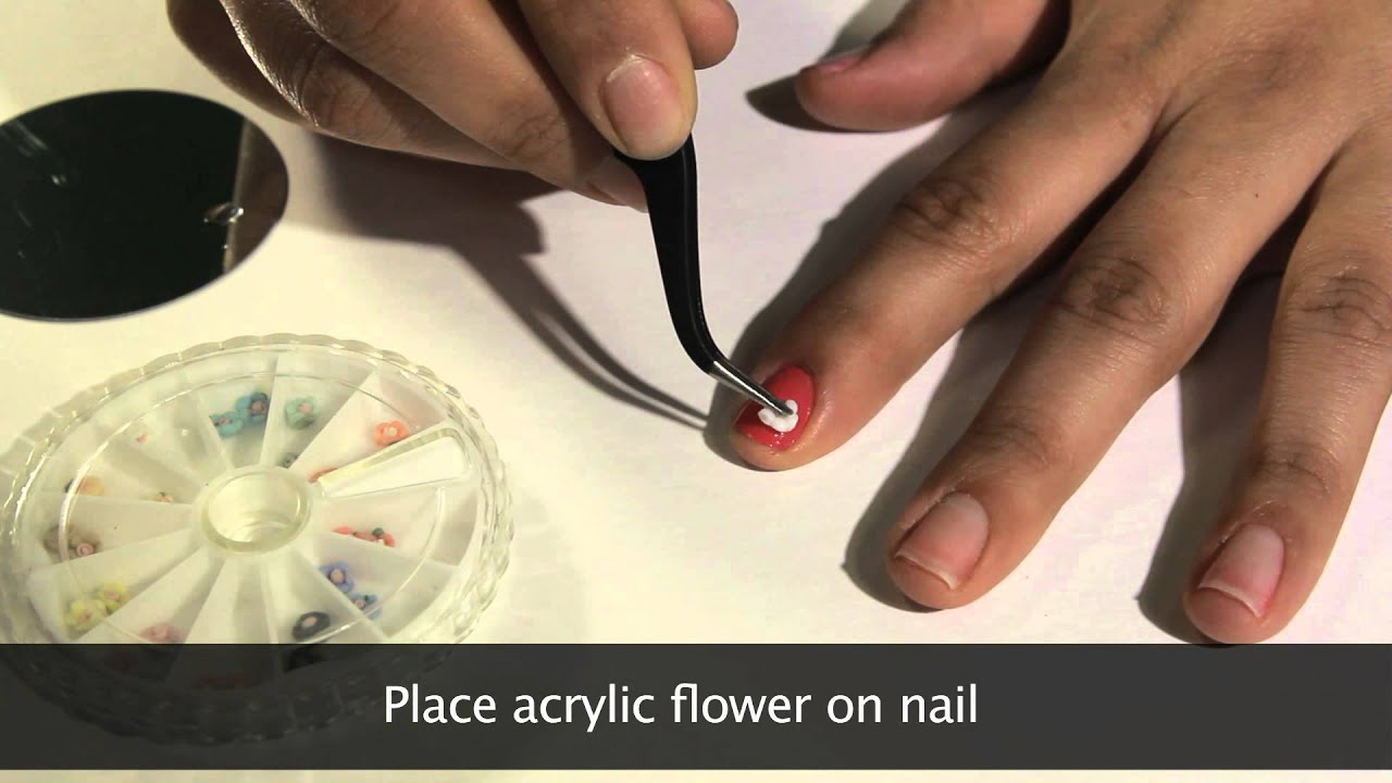 MASH Nails Acrylic Nail Art Flowers Demonstration Video - YouTube