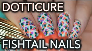 Fishtail dotticure nail art - colour blind test too?
