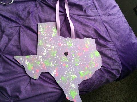 DIY Splatter Paint Wooden Texas How-to KB709