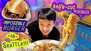 Download Trying IMPOSSIBLE BURGER & BEST Knife Cut NOODLES! Mp3 and Videos