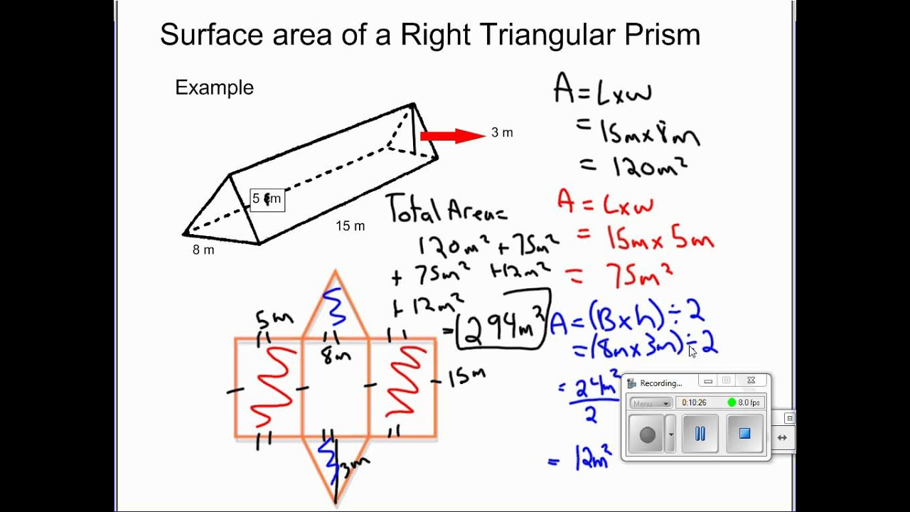 Solving For Surface Area Of Retangular Prisms, Right Triangular Prisms And  Cylinders