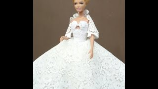 Как сшить свадебное платье из гипюровой ткани. Wedding dress for Barbie. Hochzeitskleid für Barbie.