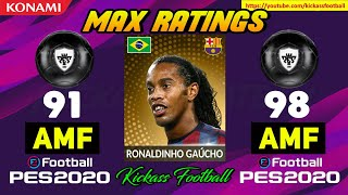 PES 20 ALL LEGENDS MAX OFFICIAL RATINGS (MOBILE & PC)🔥
