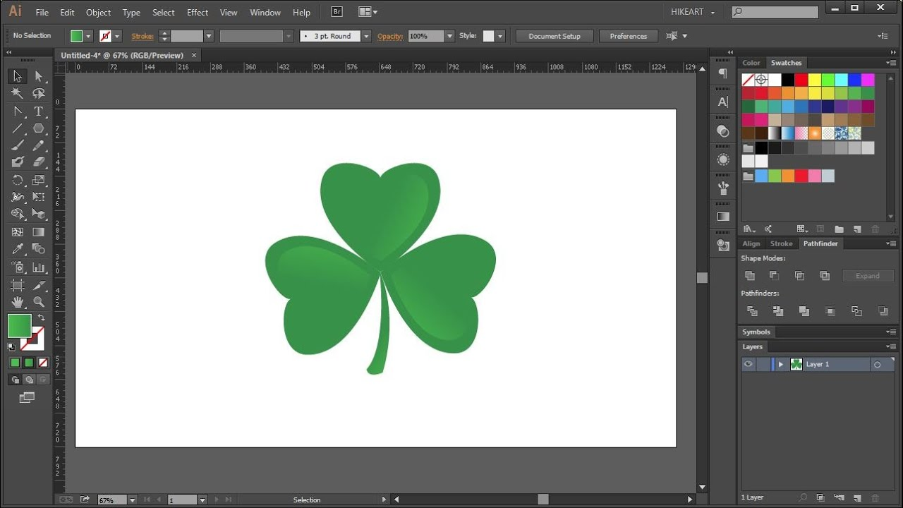 how to draw a shamrock in adobe illustrator youtube