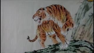20160521陳永浩CHEN YUNG HAO老師授課Ink and color PAINTING  畫猛虎  Painted  tiger