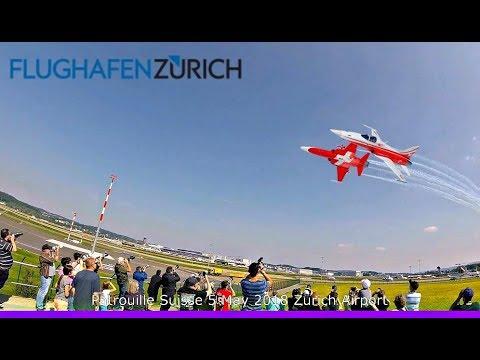 Zurich Airport Patrouille Suisse formation pass + ATC Radio ZRH SPHAIR