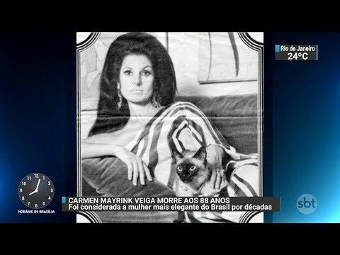 Morre a socialite Carmen Mayrink Veiga no Rio de Janeiro | SBT Brasil (04/12/17)
