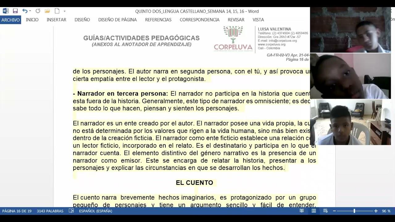 31/05/2021 QUINTO DOS castellano: Genero parte 2 semana 16