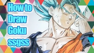 How To Draw Goku Super Saiyan Blue - SSGSS - Step by Step Tutorial - PART 2