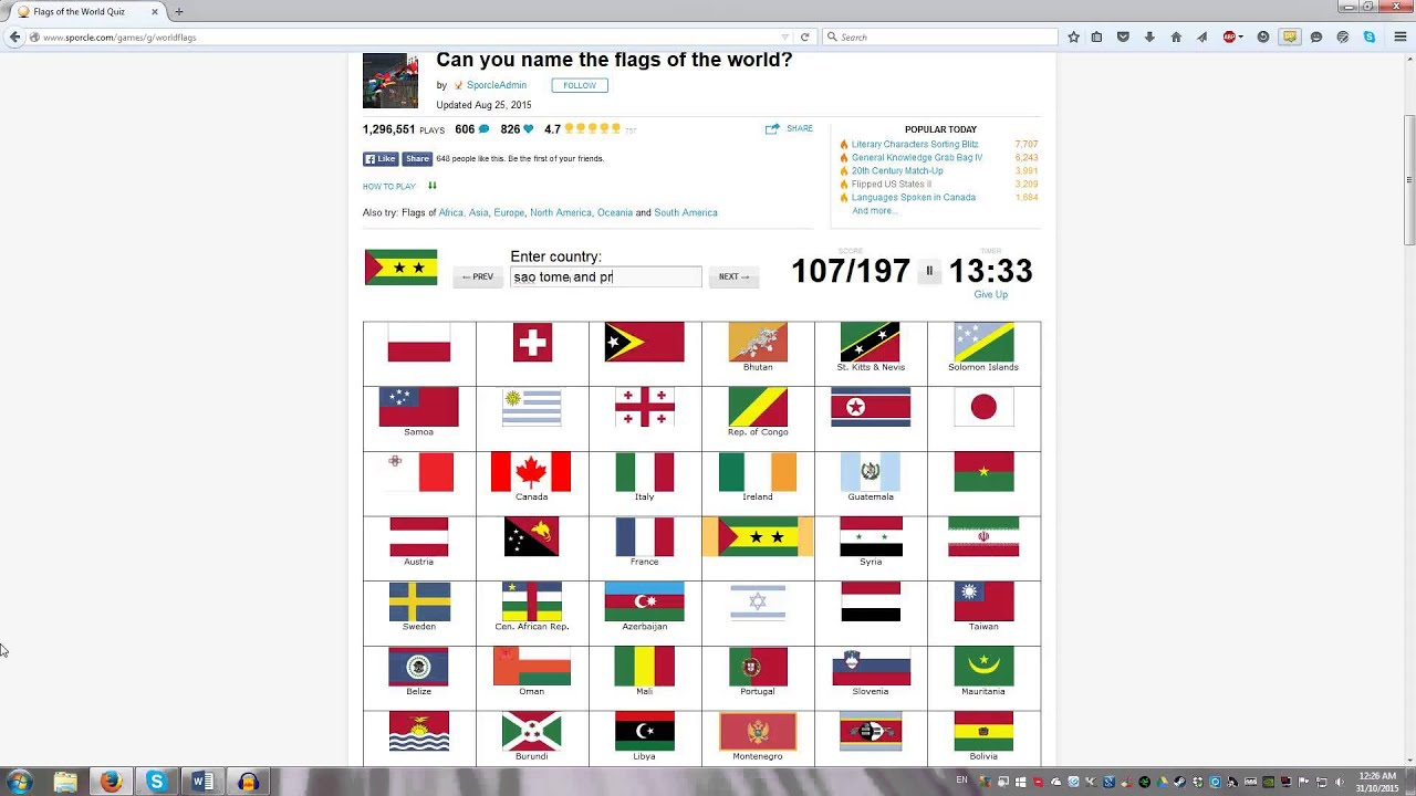 Flags of the World Quiz Sporcle YouTube