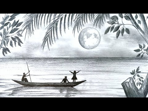 How to draw scenery of Moonlight night scene with pencil sketch step by step (easy drawing video)