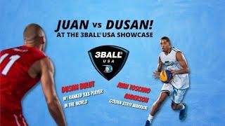 Dusan Bulut of Novi Sad vs. Golden State Warrior Juan Toscano Anderson at the 3BALL USA Showcase