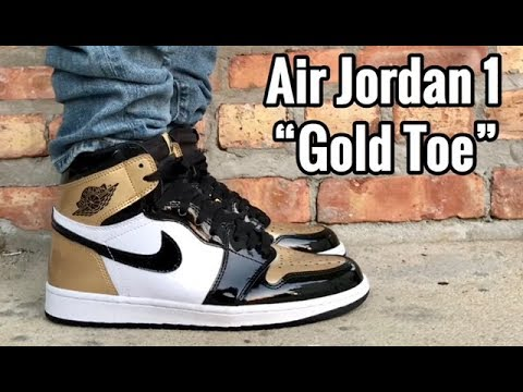 "4c046c5db73d72 Air Jordan 1 ""Gold Toe"" on feet - YouTube"