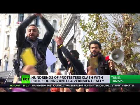 Yellow card to Tunisian govt: Protesters clash with police at anti-govt rally