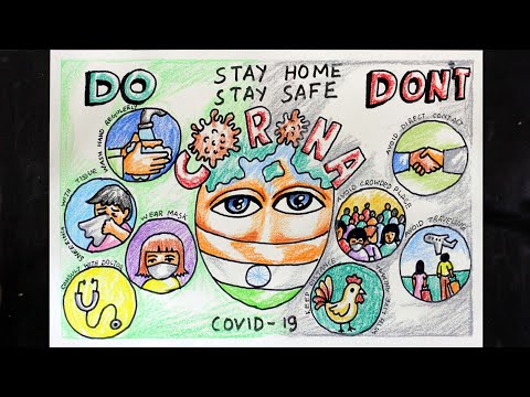 STOP CORONA VIRUS DRAWING | STAY SAFE STAY HOME DRAWING | DO AND DON'T FOR  STOP CORONA VIRUS - YouTube