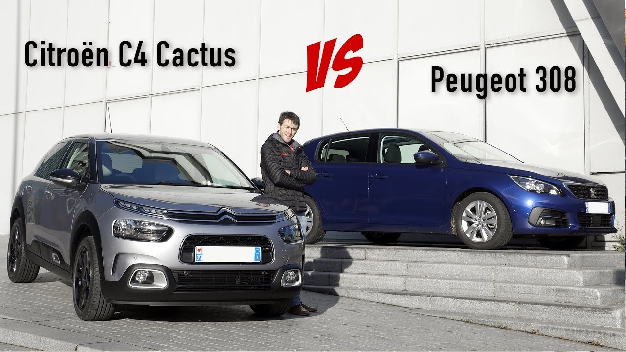 nouveau citro n c4 cactus vs peugeot 308 premier match statique youtube. Black Bedroom Furniture Sets. Home Design Ideas