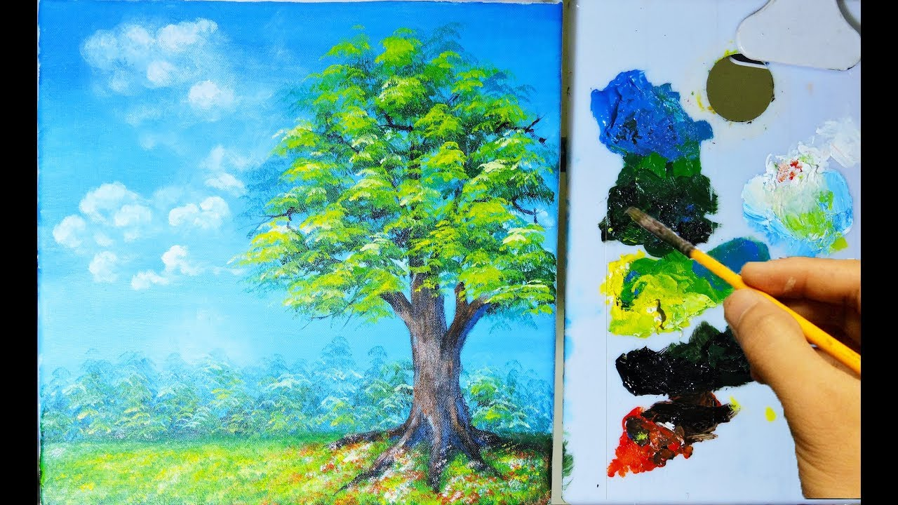 How To Paint A Tree, Grass and Other With Acrylic – Hướng Dẫn Vẽ Cây, Thảm Cỏ #1