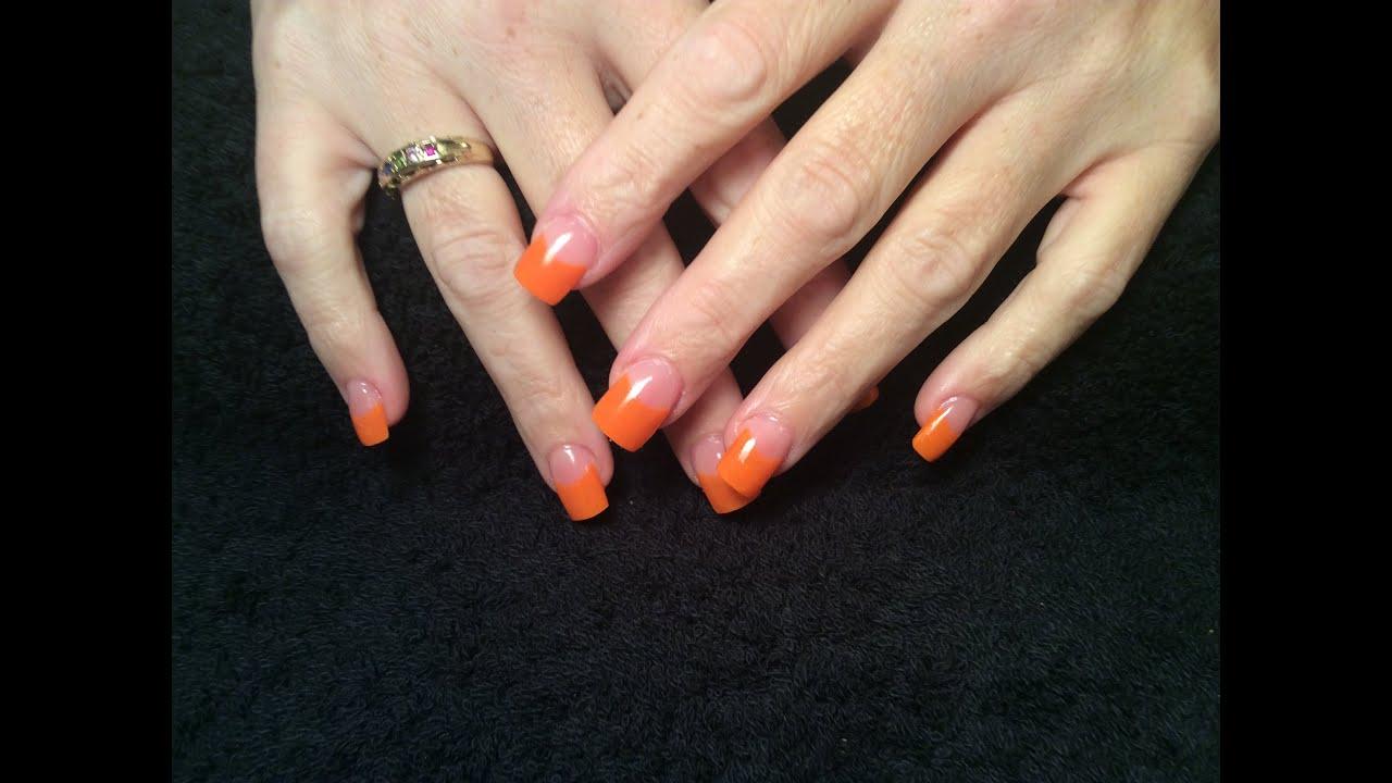 acrylic nails orange tips