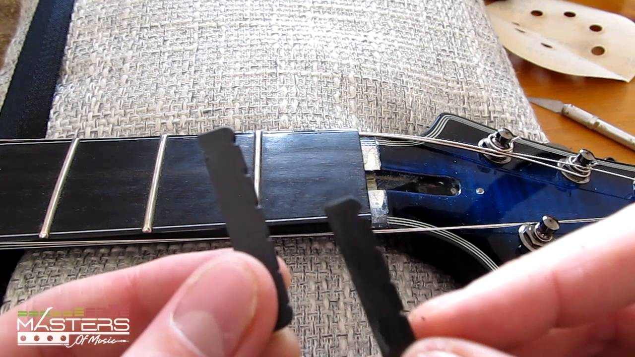 guitar nut replacement guide how to install black tusq nut youtube. Black Bedroom Furniture Sets. Home Design Ideas