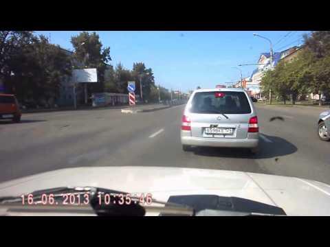 ДТП. Ученик автошколы сбивает глупого пешехода. Россия, Красноярск.