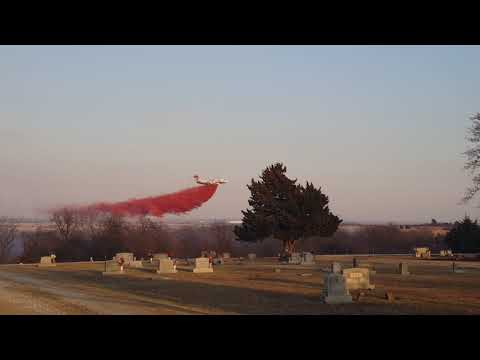 Heavy tanker drop west of Ochelata, OK.