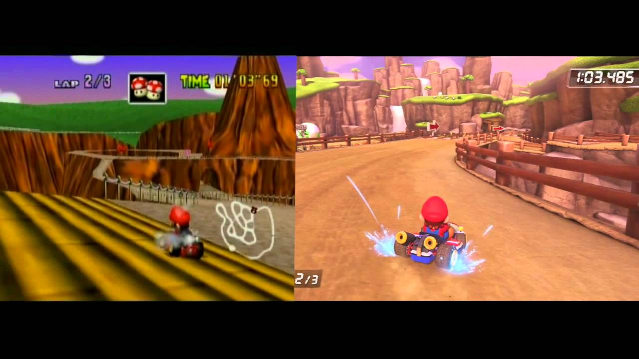 Mario Kart 8 Vs Mario Kart 64 Comparison Retro Vs Originals Ep 7 Yoshi S Valley Youtube