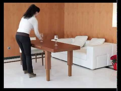 mesa de centro elevable y extensible convertible en mesa de comedor youtube. Black Bedroom Furniture Sets. Home Design Ideas