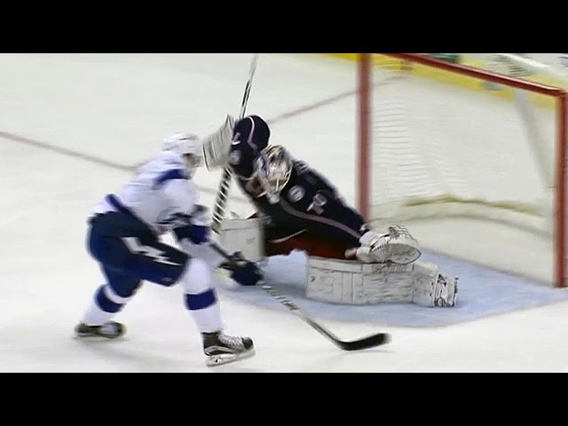 Korpisalo slides to his left to deny Killorn