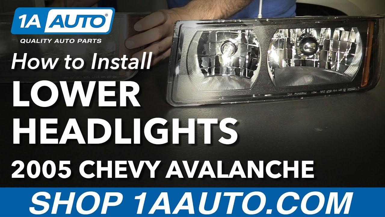 how to install replace lower headlights 2003 06 chevy avalanche 1500 with lower body cladding [ 1280 x 720 Pixel ]